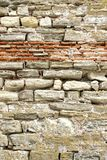 Old Rough Red and White Stone Wall Royalty Free Stock Photos