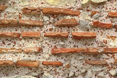 Old Rough Red and White Stone Wall Royalty Free Stock Image