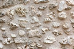 Old Rough Stone Textured Wall, Abstract Material for Background, Sand Color royalty free stock image