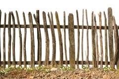 Old and rough wooden fence. On white background royalty free stock photos