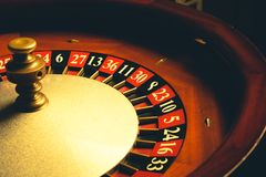 Old Roulette wheel. Casino series. studio shot stock image