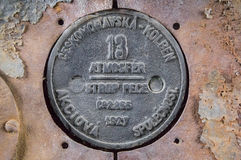 Old round locomotive plate Stock Photography