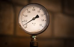 Old, round, measuring instrument, pressure, manometer royalty free stock images