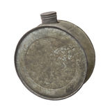 Old round metal water canteen. Stock Photos