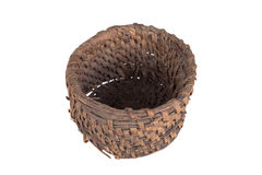 Old round wicker willow basket isolated on white background Stock Photos