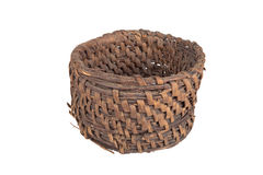 Old round wicker willow basket isolated on white background Royalty Free Stock Image