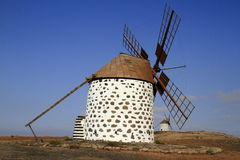 Old round windmill in Villaverde, Fuerteventura Royalty Free Stock Photography