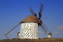 Old round windmill in Villaverde, Fuerteventura Stock Photos