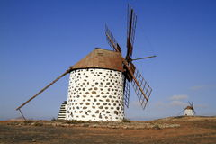 Old round windmill in Villaverde, Fuerteventura Stock Photography