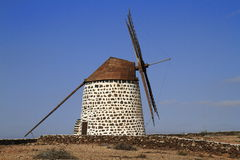 Old round windmill in Villaverde, Fuerteventura Royalty Free Stock Photo