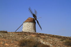 Old round windmill in Villaverde, Fuerteventura Stock Photography