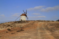 Old round windmill in Villaverde, Fuerteventura Stock Photos