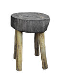Old round wood stool isolated. Stock Images