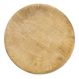 Old Round Wooden Chopping Board Isolated Top View Royalty Free Stock Photography