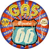 Old route 66 enamel gas station sign Stock Photo