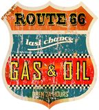 Old route 66 gas station sign. Vintage route 66 gas station sign, retro style, vector illustration Stock Image