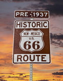 Old Route 66 New Mexico Sign with Sunrise Sky stock images