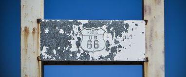 Old Route 66 Sign. Against a blue sky in Amboy, California Royalty Free Stock Image