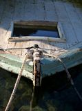 Old rowboat. Close up of bow of old rusty rowboat Stock Photo