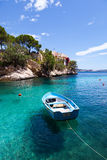 Old Rowboat Moored in Cala Fornells, Majorca royalty free stock image