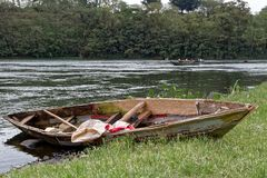 Old Rowboat on Nile River. An old wooden rowboat on the Nile River in Uganda Royalty Free Stock Photography