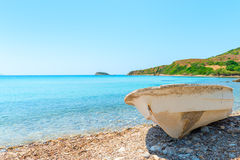 Old rowboat on shore Stock Images