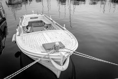 Old rowing boat. Old boat on calm sea Royalty Free Stock Photography