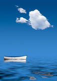 Old rowing boat marooned at sea. Concept image of loneliness, lacking direction, no leadership, rudderless, floating, listless or generally adrift without a goal Stock Photos