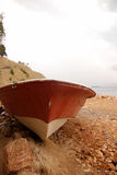Old rowing boat and sea. Old rowing boat on the seaside Stock Photography