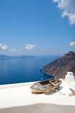 Old rowing boat in Thira, Santorini, Greece Royalty Free Stock Images