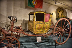 Old royal carriage. 18th century Berlin Coupe de Gala Carriage belonging to the Royal House of Portugal's King Joao V for princesses ceremony. now housed at car Royalty Free Stock Photo