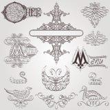 Old royal element bird calligraphic Stock Photos