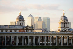 Old Royal Naval College, Greenwich; Canary Wharf Stock Photography