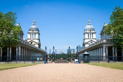 Old Royal Naval College, Greenwich, London, UK. A view of the Sir Christopher Wren designed Old Royal Naval College looking towards the River Thames in Greenwich royalty free stock image