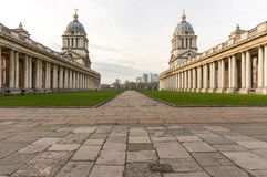 Old Royal Naval College, Greenwich, London. View of Old Royal Naval College, Greenwich, London with London Docklands and Canary Wharf in the background Stock Photos