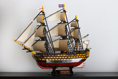 Old Royal Navy Ship cardboard model Victory. This is the cardboard model of HMS Victory, 104 gun ship of British Royal Navy, from XVII century Royalty Free Stock Photography