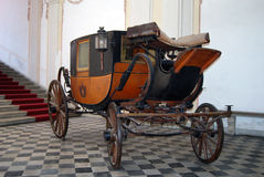 Old royal wagon. Image of old horse royal carriage in Museo di Palazzo Reale, Genova, Italy Stock Image