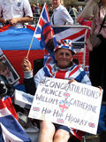 Old Royal Wedding fan. Old fan of the royal wedding between Prince William and Kate Middleton waiting for the big event. Photo taken on April 28, 2011 next to Royalty Free Stock Images