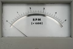 Old RPM counter showing zero. Close up of old RPM counter showing zero Stock Photography
