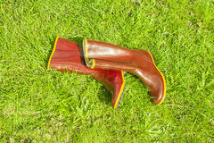 Old rubber boots lie on the grass Stock Photo
