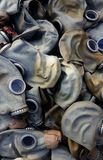 Old rubber gas masks Stock Photography