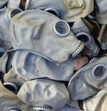 Old rubber gas masks Stock Image