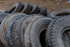 Old rubber tire. Pile of used old rubber tire royalty free stock image