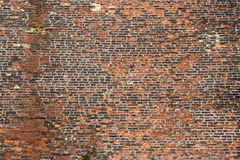 Old rugged brick wall. Abstract background texture with old rugged brick wall Royalty Free Stock Photo