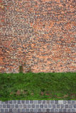 Old rugged brick wall with green grass. Abstract background texture with old rugged brick wall and green grass Royalty Free Stock Photo