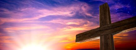 The Old Rugged Cross At Sunrise With Clouds And Starry Sky