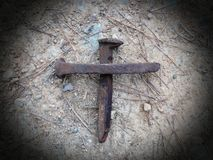 That Old Rugged Cross 2. A cross made from rugged nails from the Railroad.  Representative of Christs love and sacrifice Royalty Free Stock Photos