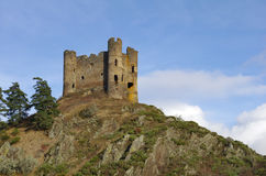 Old ruin of �Alleuze� castle in france Stock Photo