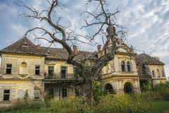 The old ruin of Bisingen castle near city of Vrsac, Serbia. An abandoned ancient scary castle near city of Vrsac, Serbia royalty free stock image