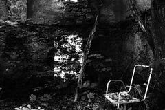 Old ruin. Ruin chair blackandwhite hole door plants trees outdoor Stock Images